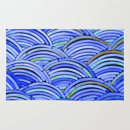 Piles of Curved Blue Tiles Rug