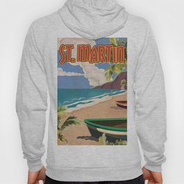 St Martin vintage vacation travel poster Hoody
