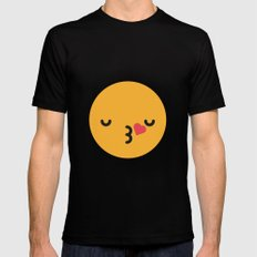 Emojis: Kiss MEDIUM Black Mens Fitted Tee