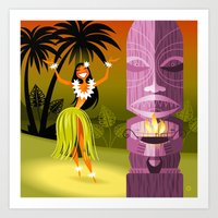 Hula Girl Art Print