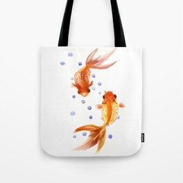 Goldfish, two fish, Koi Asian Style watercolor art, feng shui Tote Bag