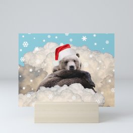 Brown Bear Santa Claus Clouds & Snowflakes Mini Art Print
