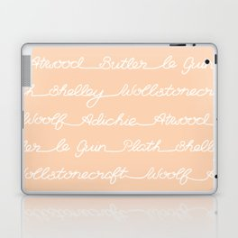 Feminist Book Author Surname Hand Written Calligraphy Lettering Pattern - Orange Laptop & iPad Skin