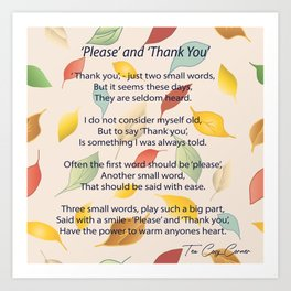 Please and Thank You - two small words Art Print