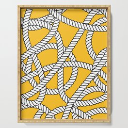 Nautical Yellow Rope Pattern Repeat Serving Tray
