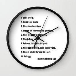 New Year's Resolutions: The Pope Francis List Wall Clock
