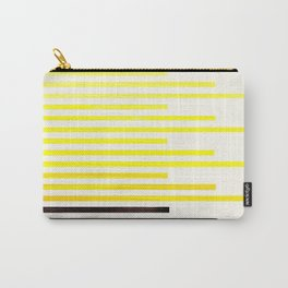 Yellow Minimalist Abstract Mid Century Modern Staggered Thin Stripes Watercolor Painting Carry-All Pouch