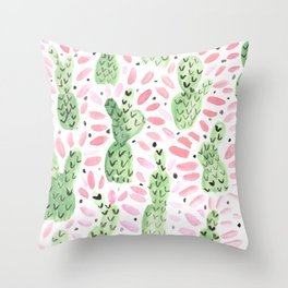 Pink Prickles Throw Pillow