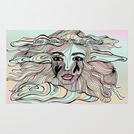 Keep Head in the Clouds, Dreamy Illustration Rug