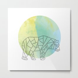 Geometric Bear In Thin Stipes On Circle Background Metal Print