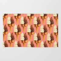 novelty Area & Throw Rugs featuring Ice Cream Pattern - Pink by Kelly Gilleran