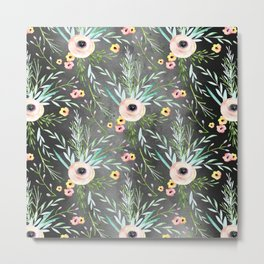 1920 Floral on Dark Gray Metal Print