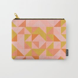 Deconstructed Triangle Pattern in Coral and Peach Carry-All Pouch