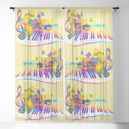 Colorful music instruments design Sheer Curtain