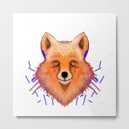Smudge Grunge Fox Metal Print