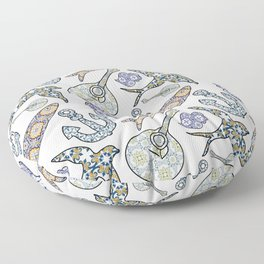 Collection of traditional Portuguese icons in seamless pattern. Floor Pillow