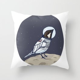 Space Sparrow Throw Pillow