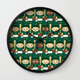 Baseball Green and Gold - Super cute sports stars Wall Clock