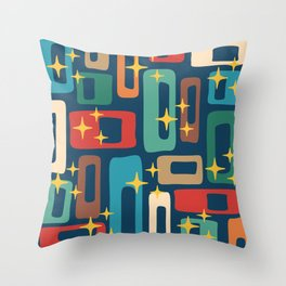 Retro Mid Century Modern Abstract Pattern 221 Throw Pillow