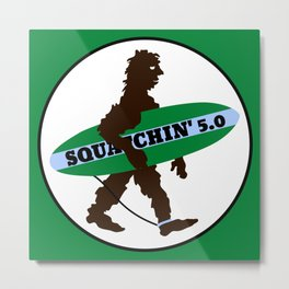 Sasquatch Squatchin' Surfing Bigfoot Metal Print