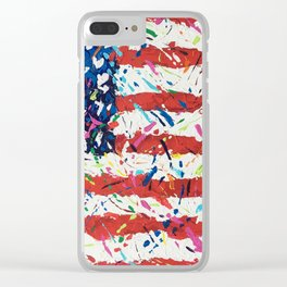 Born on the 4th of July, US Confetti Flag Clear iPhone Case