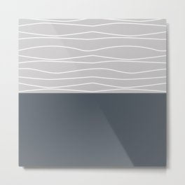 Waves Pattern in Gray Metal Print