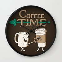 coffee Wall Clocks featuring Coffee Time! by powerpig