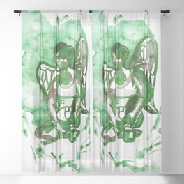 Grunge Angel - Green & Scarlett Sheer Curtain