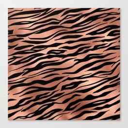 Rose Gold Metallic Stylish Tiger Fur Stripes Print Canvas Print