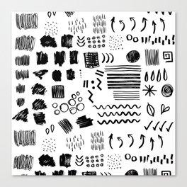 Modern black white watercolor brushstrokes shapes geometrical Canvas Print