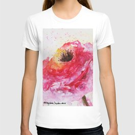 Big Pink Rose Blossom watercolor by CheyAnne Sexton T-shirt