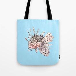 Watercolor Lionfish Tropical Fish Marine Life Painting Tote Bag