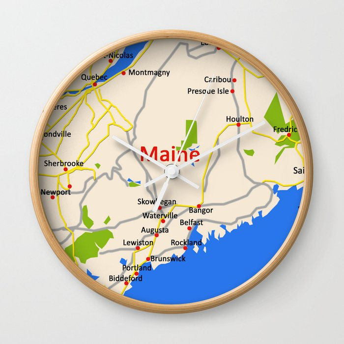 Map of Maine state, USA Wall Clock