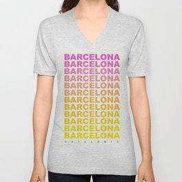 Barcelona Catalonia travel poster Unisex V-Neck