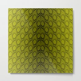 Golden Yellow and Black Python Snake Skin Reptile Scales Metal Print