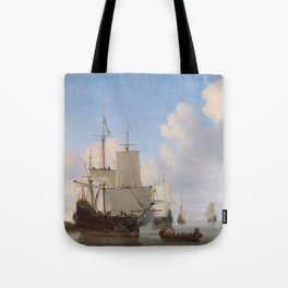 Dutch Ships In A Calm Tote Bag