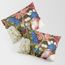 Colorful Still Life with Flowers and Insect Pillow Sham