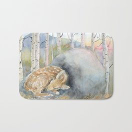 On the Stone, Fawn sleeping on stone Bath Mat