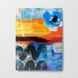 Eye Sea You in Orange, Blue, and a touch of Black Metal Print
