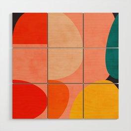 geometry shape mid century organic blush curry teal Wood Wall Art
