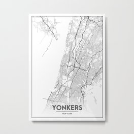 Minimal City Maps - Map Of Yonkers, New York, United States Metal Print