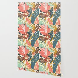 Tropical Flowers and Leaves Wallpaper