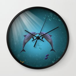 dolphins love Wall Clock