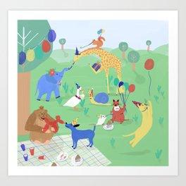 Animals' Birthday Party Art Print