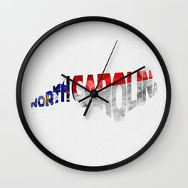North Carolina Typographic Flag Map Art Wall Clock