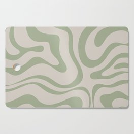 Liquid Swirl Abstract Pattern in Almond and Sage Green Cutting Board
