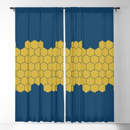 Honeycomb Blue Blackout Curtain