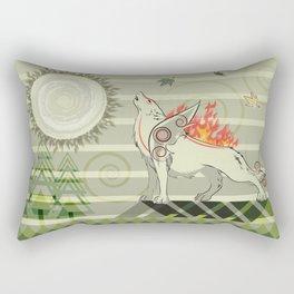 A wolf on fire Amaterasu Rectangular Pillow
