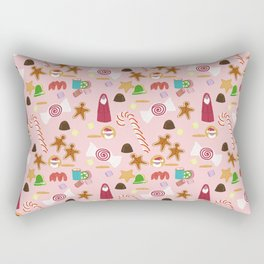 Christmas Sweeties Candies, Peppermints, Candy Canes and Chocolates on Pink Rectangular Pillow