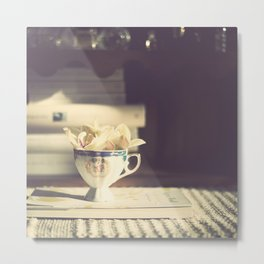 Vintage Orchid in a Chinese Cup and a Book  Metal Print